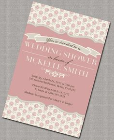Wedding / Bridal Shower Invitations, Coral and Cream Floral - 1553