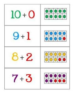 Activities for exploring numbers up to 10 and making tens using tens frames.