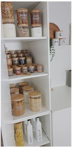 Kitchen Pantry Design, Kitchen Jars, Home Decor Kitchen, Kitchen Interior, Home Kitchens, Kitchen Items, Kitchen Utensils, Modern Interior, Kitchen Cabinets