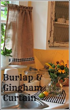 Burlap and Gingham Curtain - Super cute for the kitchen! Do matching ones for the patio doors :)