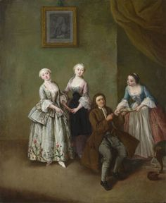 An Interior with Three Women and a Seated Man  probably 1750-5, Pietro Longhi    The National Portrait Gallery, UK