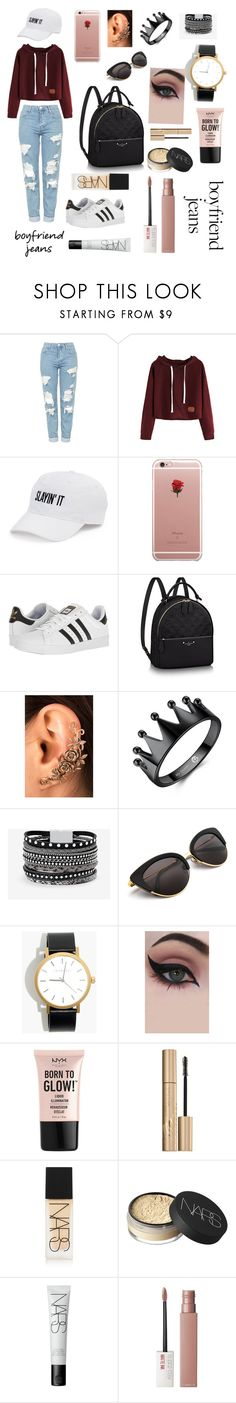 """""""No boyfriend, no problem"""" by d5sand ❤ liked on Polyvore featuring Topshop, SO, ETUÍ, adidas, White House Black Market, Madewell, Concrete Minerals, NYX, Stila and NARS Cosmetics"""