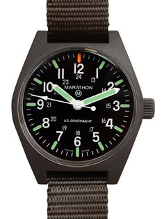 Marathon Watch General Purpose Quartz Swiss Made Military Field Army Watch with Date (GPQ), Tritium, and Sapphire Crystal Black) Casual Watches, Cool Watches, Marathon Watch, Field Watches, Army Watches, Wrist Watches, Chain Of Command, Luxury Watches For Men, Quartz