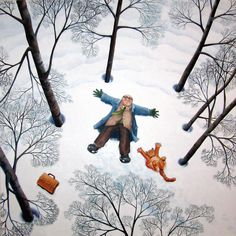A beautiful snowy scene with featuring a tabby or ginger cat by Vicky Mount. This artist card is blank inside and published by Art Cove UK. Chat Web, The Mighty Boosh, Snow Angels, Snow Scenes, Naive Art, Children's Book Illustration, Forest Illustration, Book Illustrations, I Love Cats