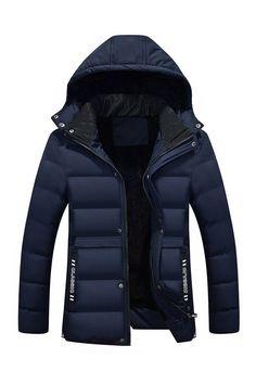 Ericdress Hooded Thicken Zipper Men's Winter Jacket