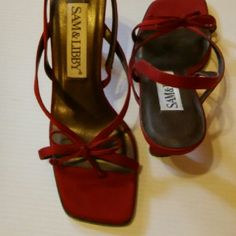 """SAM & LIBBY Gorgeous. Price Drop Deep Red  3.5"""" inch Bowed Strappy Heel.  Like New.  Bought from a private estate sale. May have been worn once from what I can see.  Gently cleaned. Fabric upper with the remainder being leather.   These are ready to go! Sam & Libby Edelman Shoes Mules & Clogs"""