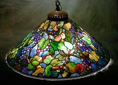 "Exquisite Multi-Coloured Grape 28"" Lamp ~Century Studios~ Makers Of Exquisite Reproduction Tiffany Lamps And Fine Stained Glass In Our Minnesota Studios Since 1986"