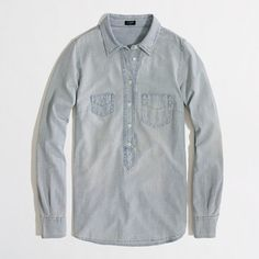 Factory chambray popover $55 J. Crew Factory -- I like the mismatched pockets and the popover style