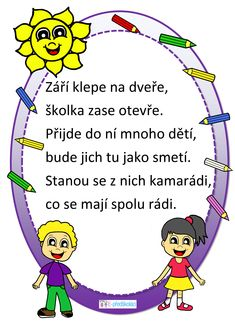 Básnička - začátek školního roku Diy Crafts Videos, Videos Funny, Motto, Worksheets, Poems, Clip Art, Teaching, Kids, Victoria