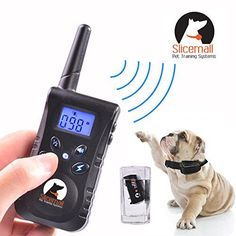 Slicemall 500 Yards Rechargeable and Waterproof Remote Electric Dog Training Collar No Bark Control Collars Tone/Vibration/Shock Blue Backlight LCD For 15 To 120 Lbs Pets -- For more information, visit now : Collars for dogs