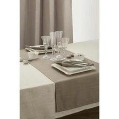 Nappe De Table Nappe aspect lin rectangle 150x250 cm. Taupe.