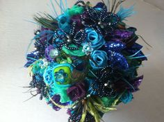 Unique peacock brooch bouquet by KwirkyKreations on Etsy, $50.00