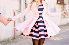 Stripe Dress and pink coat