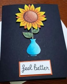 Handmade Get Well card bright sunflower theme by WhaleEyeWorks