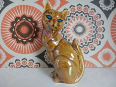 Cute Retro  1960s Kitsch Ceramic Cat Figurine by TechnicolourRetro, £9.00