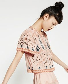 Embroidered top from Zara Zara Tops, Zara Embroidered Top, Top Bordado, Spring Tops, Spring Summer, Summer 2016, Jumper Shirt, European Fashion, Shirts