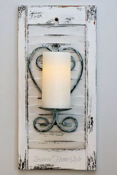 Candle Sconces A quick distressed paint coat gives shutters a new life. A perfe. - Candle Sconces A quick distressed paint coat gives shutters a new life. A perfect backdrop for a c - Decoration Shabby, Rustic Decor, Farmhouse Decor, Repurposed Furniture, Shabby Chic Furniture, Shutter Projects, Shutter Decor, Diy Shutters, Repurposed Shutters