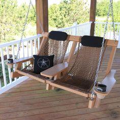 Cedar Durawood Deluxe Double Swing by Nags Head Hammocks (diy crafts room decor hammock chair) Backyard Swings, Pergola Swing, Hammock Swing, Porch Swing, Rope Swing, Hammock Chair, Swing Table, Backyard Ideas, Backyard Landscaping
