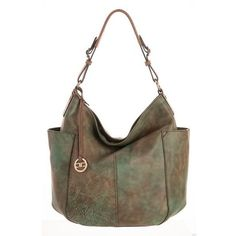 Elena-Large Brûlée Hobo Bag-Forest (€210) ❤ liked on Polyvore featuring bags, handbags, shoulder bags, brown shoulder bag, leather shoulder handbags, brown leather purse, leather hobo purses and brown handbags