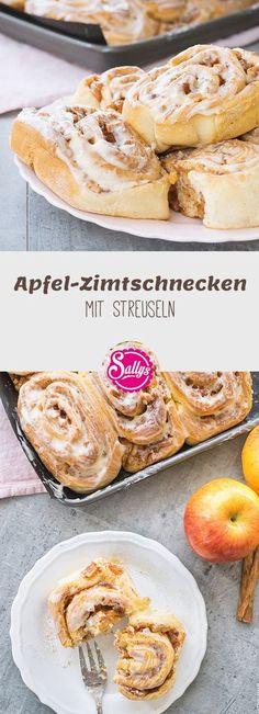 Super weiche Apfel-Zimtschnecken mit Marzipan und Streuseln.