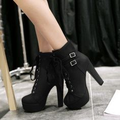 Women's Black Lace Up Boots Platform Chunky Heel Ankle Booties
