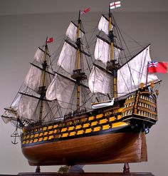 "HMS VICTORY 52"" wood model ship large scale sailing tall British boat  #DecorModels"