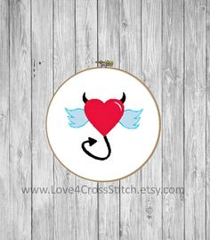 Angel Cross Stitch Pattern Funny, Heart Cross Stitch Pattern Modern, Devil Cross Stitch, Angel Wings Cross Stitch, Red Heart Cross Stitch,  Different color version of this pattern can be found here: https://www.etsy.com/listing/524649641/devil-cross-stitch-pattern-funny-angel?ref=listing-shop-header-0  This PDF counted cross stitch pattern available for instant download. Floss: DMC Fabric: AIDA 14-count ( other AIDA Fabric Counts may be used, the finished pattern...