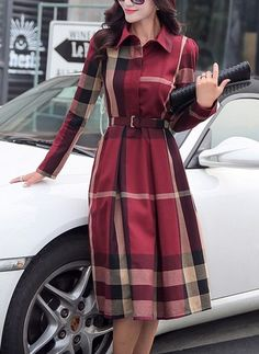 JustFashionNow Shirt Collar Women Elegant Dress Going out Dress Long Sleeve Work Cotton Checkered/Plaid Dress Dress Outfits, Casual Dresses, Fashion Dresses, Ladies Dresses, Women's Dresses, Work Dresses, Skater Dresses, Maternity Dresses, Fashion Clothes