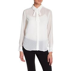 Joe Fresh Bow Blouse ($23) ❤ liked on Polyvore featuring tops, blouses, off whit, transparent blouse, metallic blouse, white blouse, long sleeve tops and sheer top