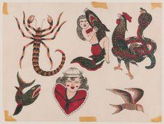 Antique Tattoo, Rooster Illustration, Ankle Tattoo Small, Tiny Tattoo, Small Tattoos, Tattoo Museum, Traditional Tattoo Flash, Vintage Flash, Literary Tattoos
