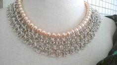 Collar, Gargantilla, Tejido Medieval, Chainmaille, Perlas