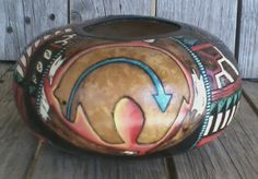 """""""Three Bears Gourd"""" by Lani Walton. Canteen gourd is wood burned & painted in acrylic & watercolor pencil. (see two more views)"""