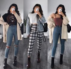 Outfit 2 or 🤓💕 Comment your fav look down below 🤘🏻 Cute Casual Outfits, Retro Outfits, Simple Outfits, Stylish Outfits, Vintage Outfits, Teenager Outfits, College Outfits, Mode Outfits, Girl Outfits