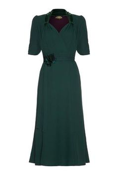 Eliza Dress in Emerald Crepe | Nancy Mac