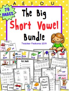 """The Big Short Vowel Bundle (All you need to teach Short A-E-I-O-U) A 79 page must-have! This bundle is filled with resources that will engage your students and help them solidify short vowels.   EACH short vowel section contains:  Vowel Word Search  Missing Letter activity  Letter Mix-ups Fun with Short Vowels """"I Have, Who Has"""" game for the specific short vowel Specific Short Vowel word cards (To play Memory, make 2 copies)"""