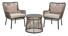 Signature Design Cotton Road 2 Chairs with Table Set - Ashley Furniture boho chic comfort and flair to a porch, patio, balcony or deck with the Cotton Road table and chair set. Handwoven resin wicker over rust-proof aluminum merges bea Chair And Ottoman Set, Table And Chair Sets, Chair Cushions, Outdoor Table Settings, Outdoor Seating, Outdoor Tables, Homemakers Furniture, Outdoor Rocking Chairs, Indoor Outdoor Rugs