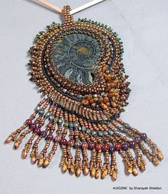 Chocolate  Ammonite Fossil Bead Embroidered Necklace by 4uidzne, $115.00