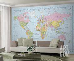 World Map Wallpaper Mural Wallpaper Mural at Art.com