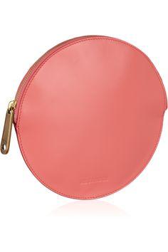 Jil Sander|Circle leather clutch|NET-A-PORTER.COM