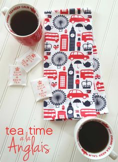 Tea time English style with fun mugs, cups and more! London Living Room, English Kitchens, Tea Sandwiches, Brewing Tea, English Style, Good Ole, Newport Beach, Tea Towels, Navy And White