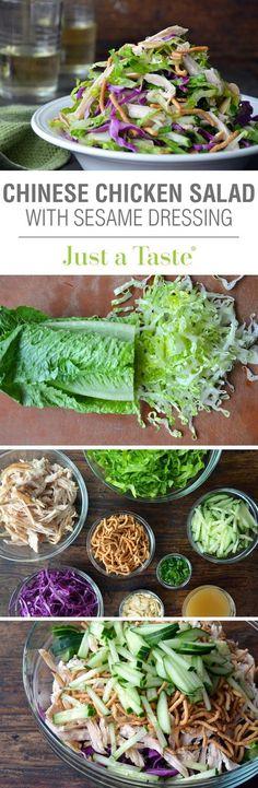 Chinese Chicken Salad with Sesame Dressing: salad salad salad recipes grillen rezepte zum grillen Healthy Salads, Healthy Eating, Healthy Recipes, Asian Salads, Vegetarian Recipes, Sesame Dressing Recipe, Chinese Chicken, Sesame Chicken, Summer Salads