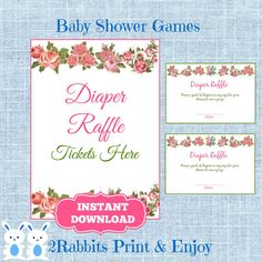 Arranging a Vintage Floral Baby Shower ? Here're Diaper Raffle Tickets & Matching Sign for your vintage baby shower!! They're instant download so easy to assemble, all you need is to print them!!  #etsypartyshop #partydigitalfiles #babyshowergames #diaperraffle #flowerbabyshower
