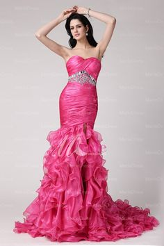 Stunning Trumpet/Mermaid Sweetheart Sleevless Rhinestone Sweep/Brush Train Organza Dress