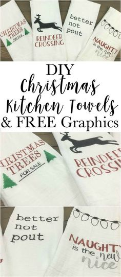 DIY Stenciled Christmas Kitchen Towels with FREE Images Make your own fun Christmas towels. Super easy, cheap and quick. Make some for a gift and some for yourself. Christmas Tea, Diy Christmas Gifts, Christmas Projects, Holiday Crafts, Thanksgiving Crafts, Funny Christmas, Christmas Design, Christmas Pictures, Christmas Christmas