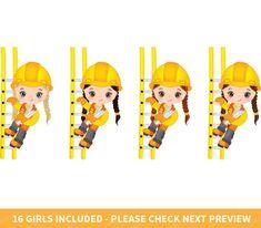 Construction Girls Clipart Vector Construction Clipart Girl | Etsy Construction For Kids, Construction Birthday Parties, Construction Theme, Eps Vector, Vector File, Construction Invitations, Girls Clips, Girl Clipart, Sunday School