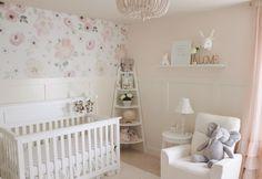 Baby Room Decor, Nursery Room, Accent Wall Nursery, Taupe Nursery, Baby Girl Nursery Wallpaper, Baby Nursery Rugs, Cream Nursery, Kid Decor, Chic Nursery