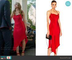"Fallon Carrington wears this red silk ""Annex"" halter dress by Juan Carlos Obando on Dynasty Fashion Tv, Fashion Looks, Fashion Outfits, Tv Show Outfits, Dress Outfits, Short Dresses, Clothes, Dressed To Kill, Red Silk"