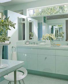 LOVE the long window above the vanity mirror
