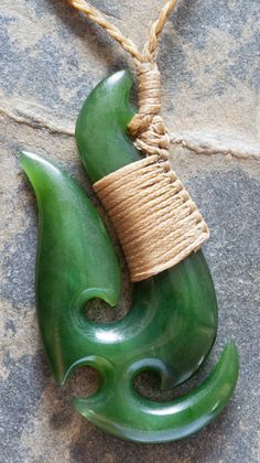 Jade Maori Fish Hook - #New Zealand big heart .....