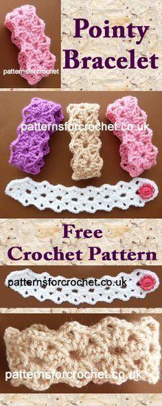 Pointy bracelet free crochet pattern